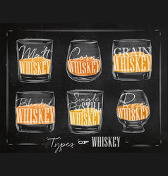 Poster types whiskey color vector