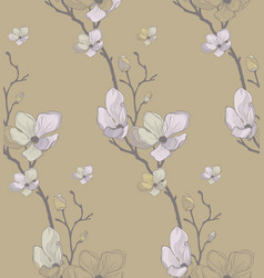 seamless pattern with drawn cherry flowers vector image vector image