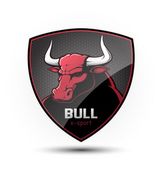 shield with a bulls head vector image