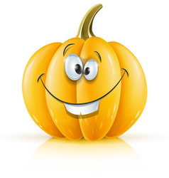 smiling ripe orange pumpkin vector image