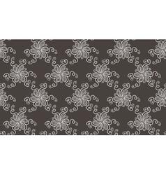 Tender Elegant White Flower pattern on dark grey vector image