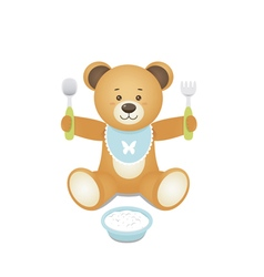Bear with fork and spoon in hands and with a plate vector image vector image