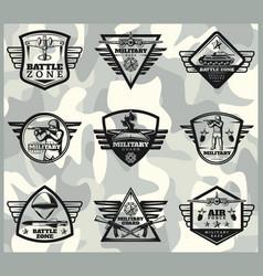 black vintage military labels set vector image vector image
