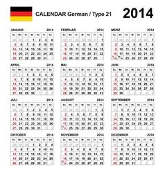 Calendar 2014 German Type 21 vector image vector image