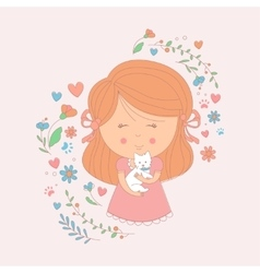Girl Holding A Small White Dog Surrounded By vector image