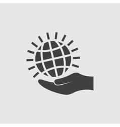 Globe on hand icon vector image