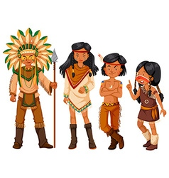 Group of native american indians in costume vector image