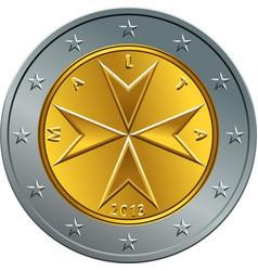 maltese money gold euro coin two euro vector image