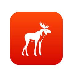 moose icon digital red vector image
