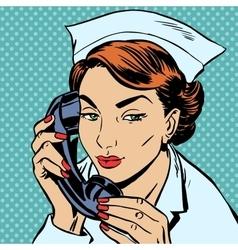 nurse reception Desk talking phone vector image vector image