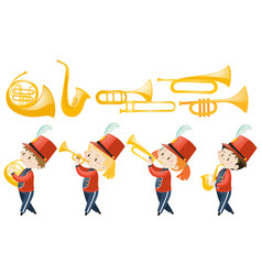 set of children playing musical instruments vector image