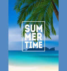 summer tropical background with palms sea and vector image