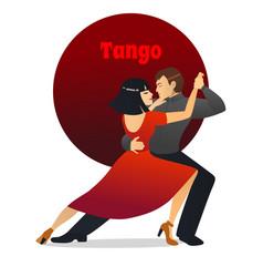 tango dancing couple in cartoon style vector image
