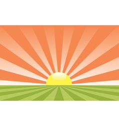 abstract rural landscape with rising sun vector image vector image