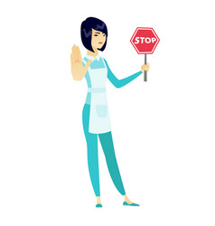 asian cleaner holding stop road sign vector image