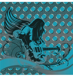 concert poster with guitar player vector image vector image
