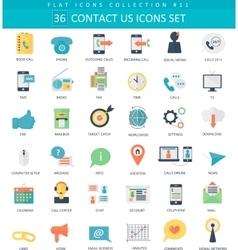 contact us color flat icon set Elegant vector image