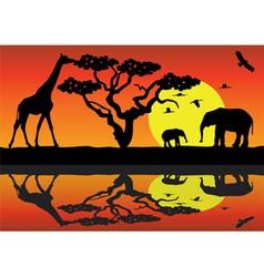 giraffe and elephants in africa vector image