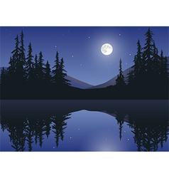 Moon Over Calm Lake vector image