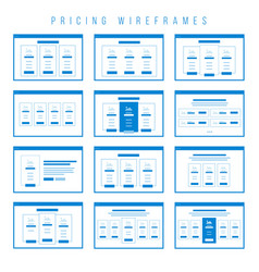 pricing tables wireframe components prototype vector image