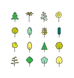 Set of color line icons Trees palm tree vector image vector image