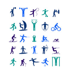 sport icon playing people color set vector image vector image