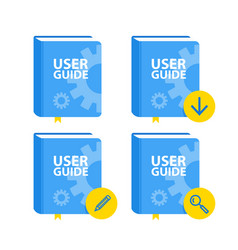 User guide book download icon set flat vector