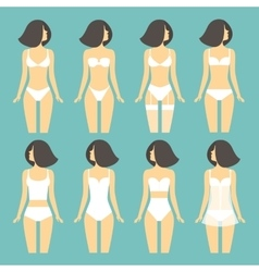 Young woman in different types of lingerie vector image vector image