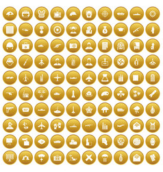100 military journalist icons set gold vector