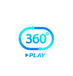 360 degrees video play icon logo vector