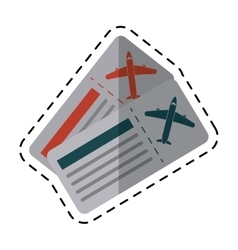 Airline tickets pass airplane cutting line vector
