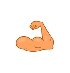 Arm emoji strong muscle flex bicep emoticon hand vector