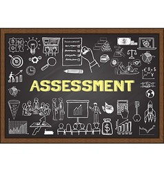 Assessment on chalkboard vector image