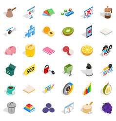 Assigned task icons set isometric style vector