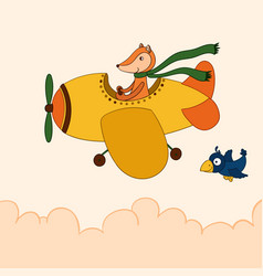 Awesome cartoon fox flying on the airplane vector