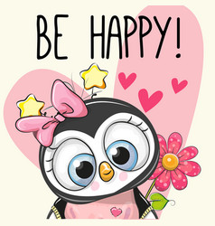 Be happy greeting card penguin with hearts vector