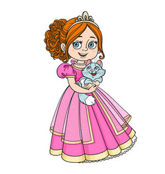 Beautiful princess holding kitten on hands vector