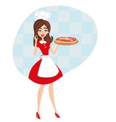 Beautiful waitress serves pizza vector