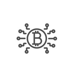 bitcoin system line icon cryptocurrency scheme vector image