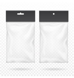 black blank plastic pocket bag transparent set vector image
