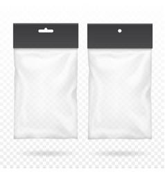 Black blank plastic pocket bag transparent set vector