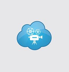 Blue cloud video icon vector image