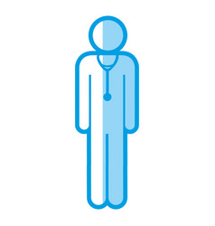 blue shading silhouette with pictogram male doctor vector image