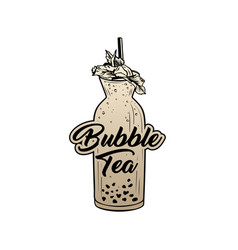 bubble tea golden sticker with lettering vector image