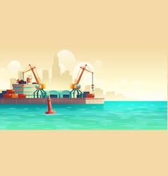 Cargo seaport on metropolis harbor cartoon vector