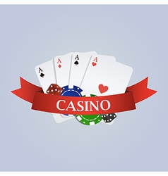 Casino with ribbon playing cards dices and vector