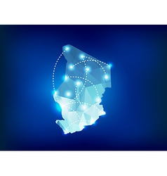 Chad country map polygonal with spot lights places vector image