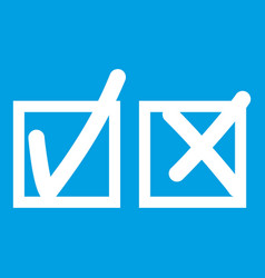 Checkmark to accept and refusal icon white vector