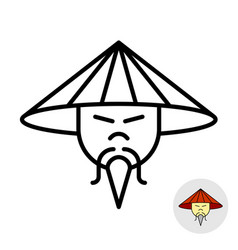 chinese man in a straw conical hat line icon vector image