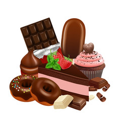 chocolate desserts collection realistic cupcake vector image